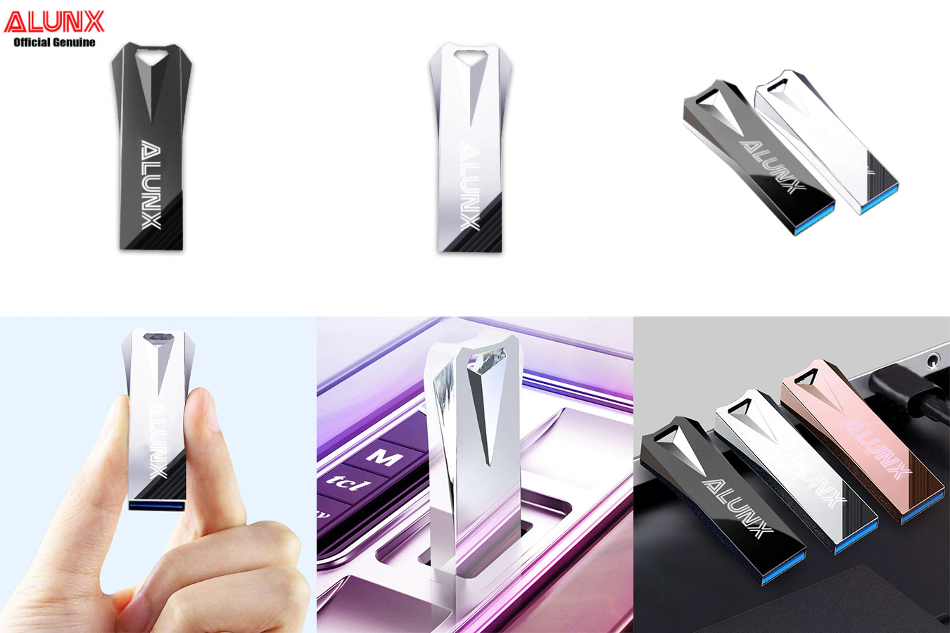 Металлическая флешка с алмазным дизайном