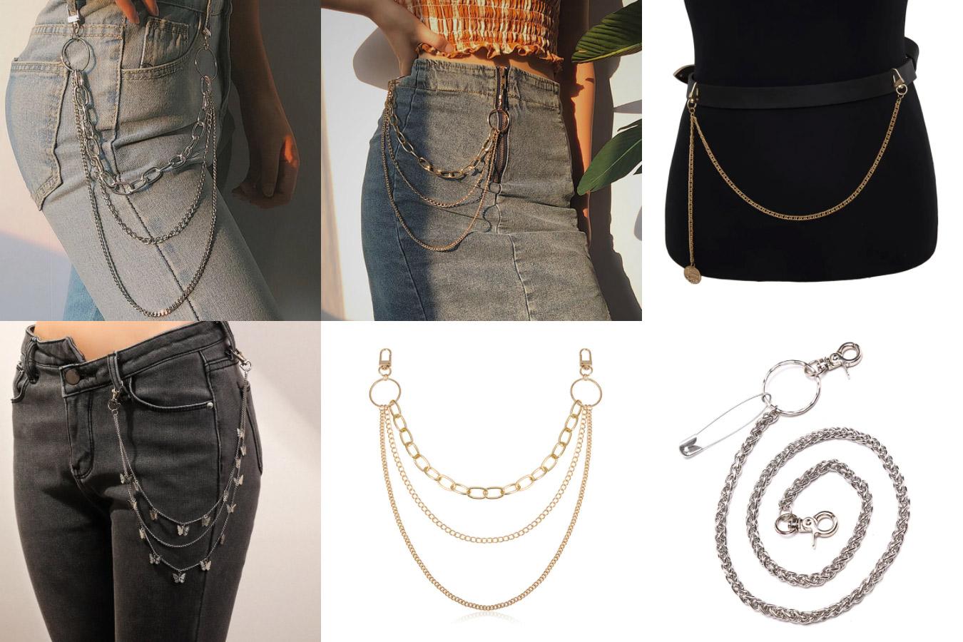 Длинный брелок — цепочка на джинсы в стиле хип-хоп