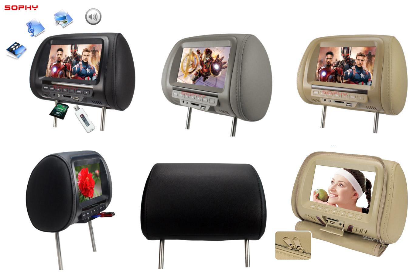 Подголовник в автомобиль со встроенным экраном