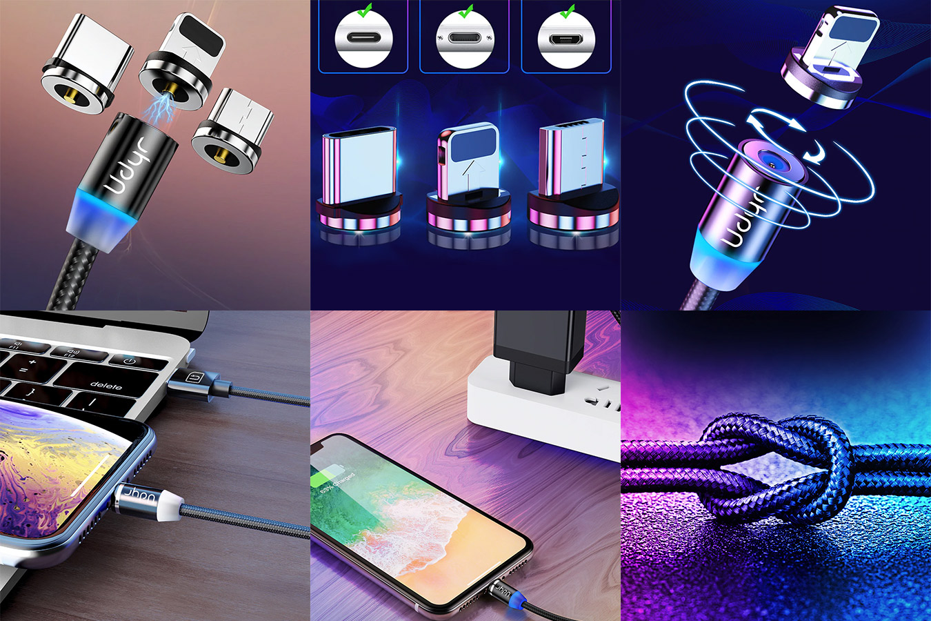 Магнитный кабель Micro USB для iPhone, Samsung, Android