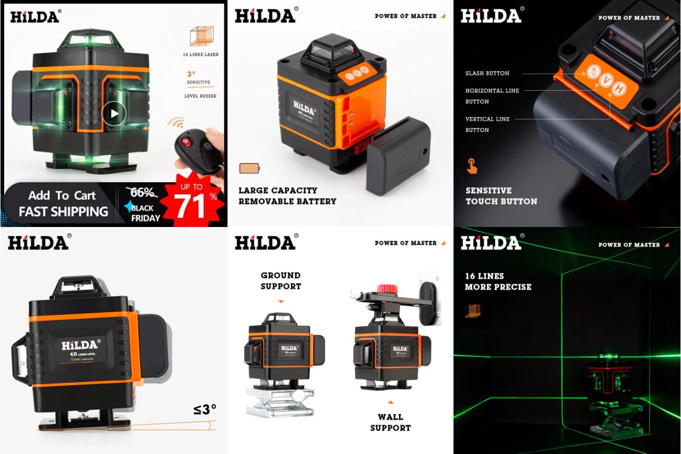 16-линейный лазерный уровень — HILDA 16