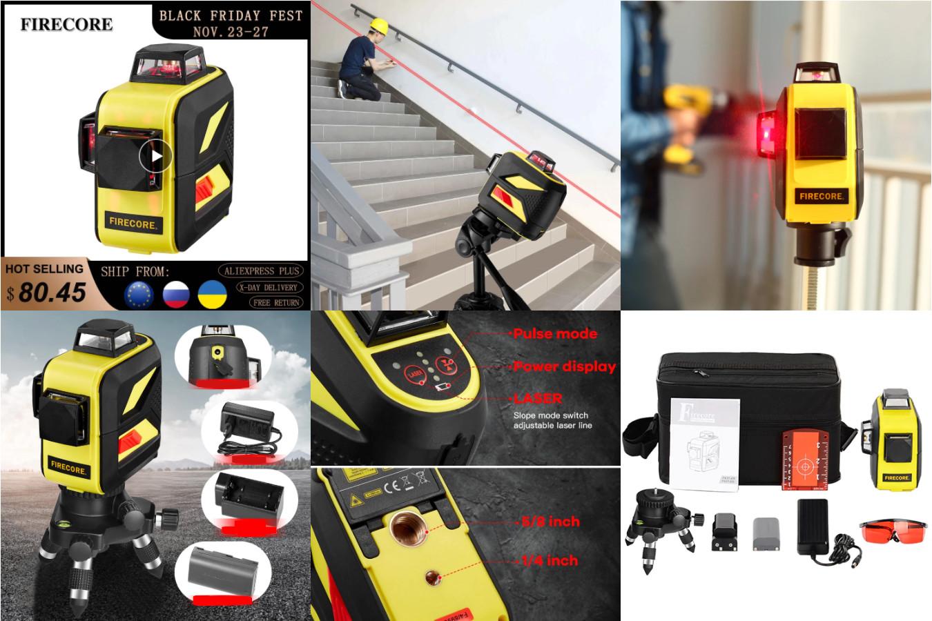 Лазерный уровень с 3 диодами — Firecore F93T-XR
