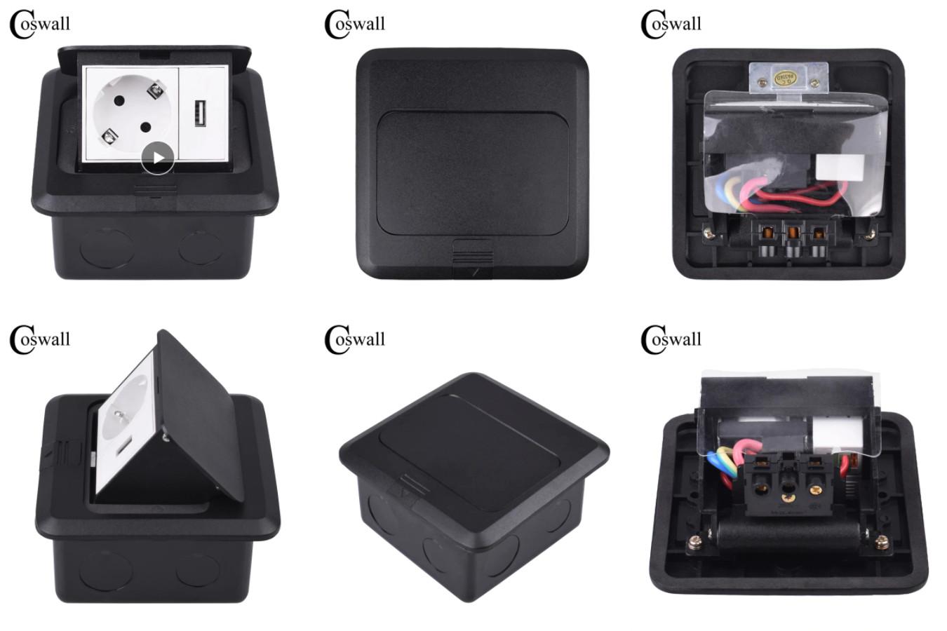 Розетка со встроенным USB — Coswall CS-FL-120A-S-EU.USB-B.W