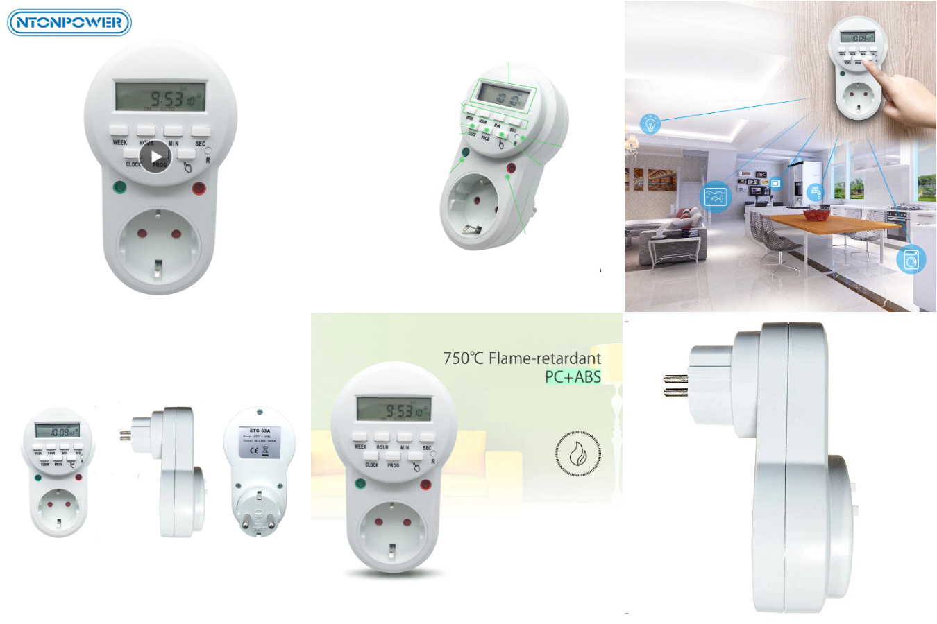 Розетка с таймером — NTONPOWER Smart Power Socket ETG-63A