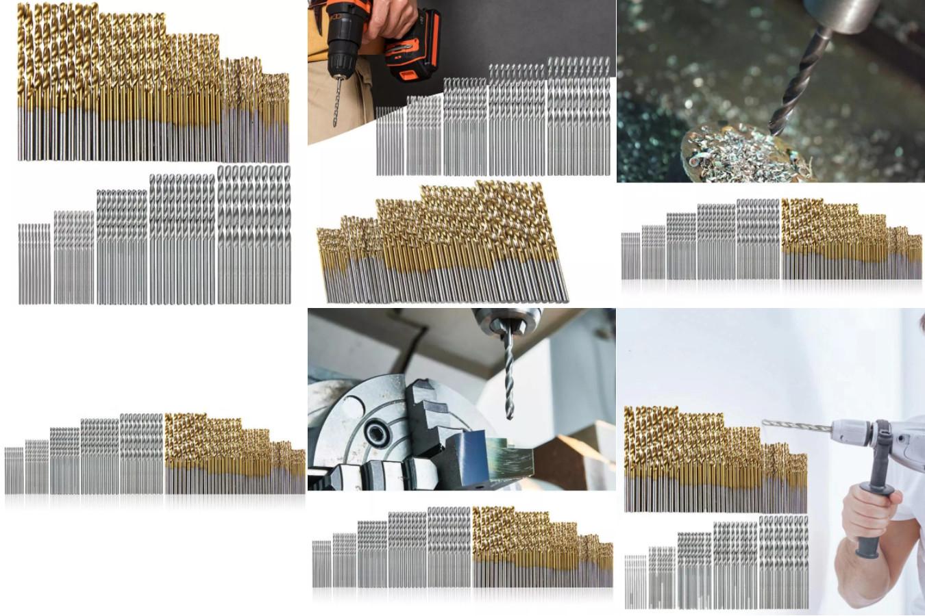 Огромный набор свёрл с титановым покрытием