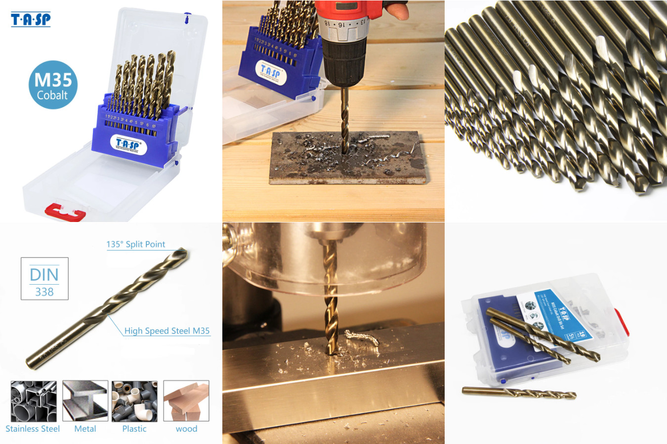 Комплект кобальтовых свёрл компании TASP модели HSS