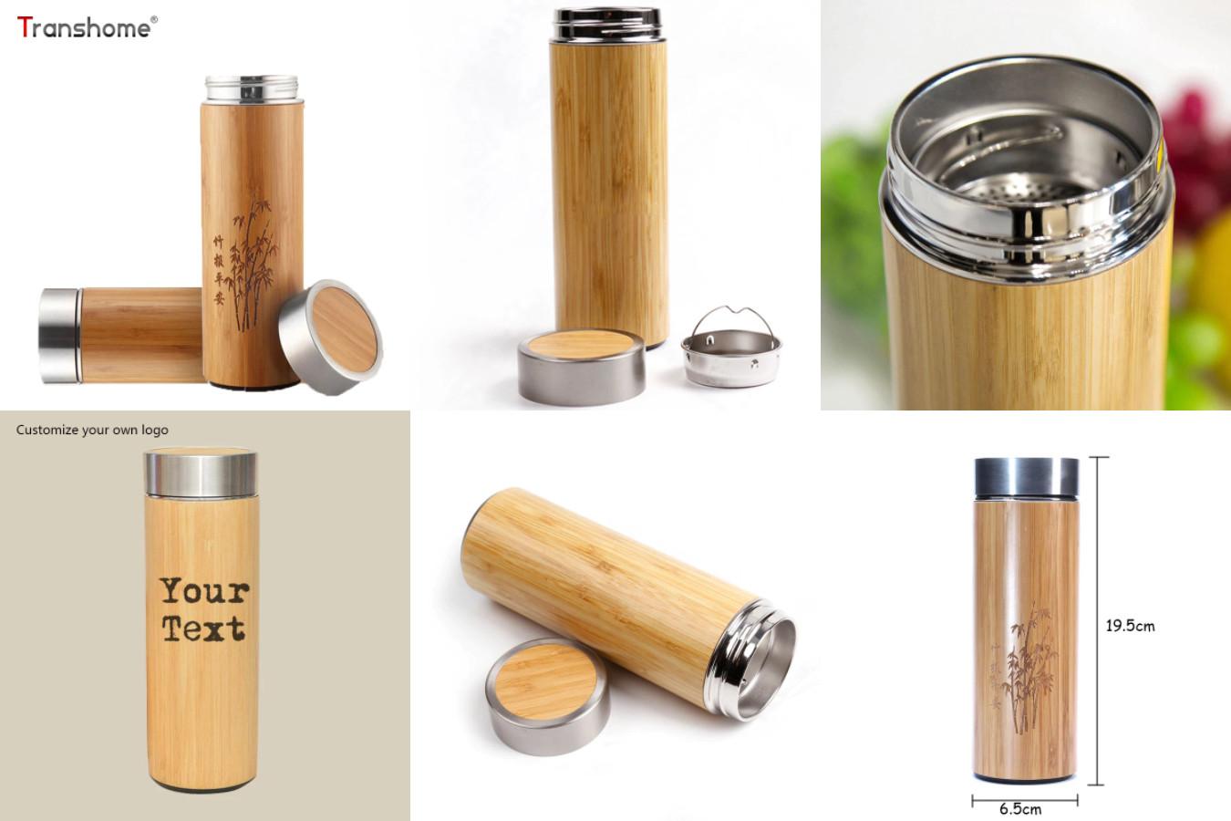 Термос с бамбуковой отделкой — B0562