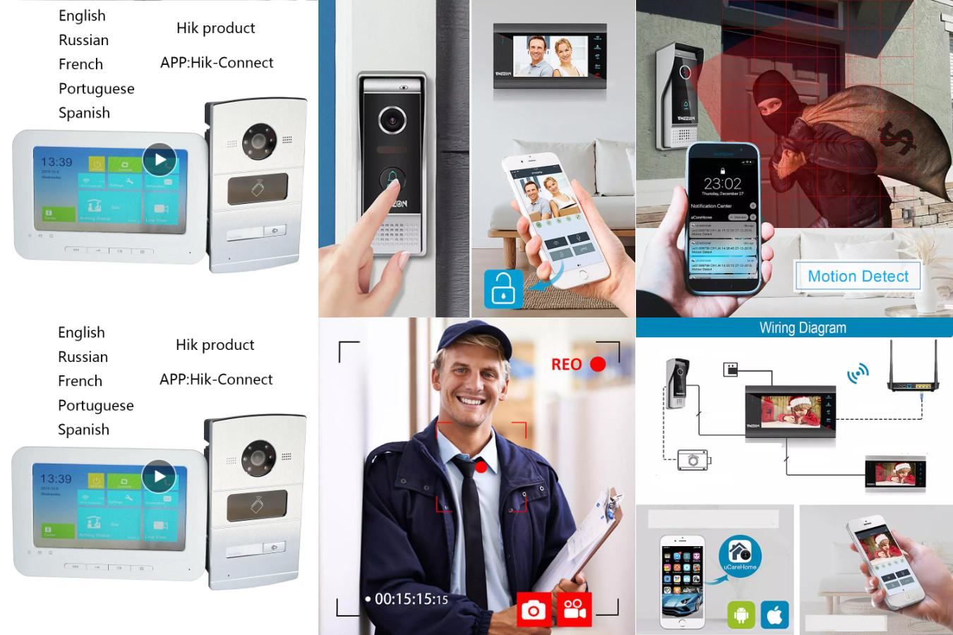 Видеодомофон с поддержкой Wi-Fi — TMEZON MZ-IP-V739B-NE120