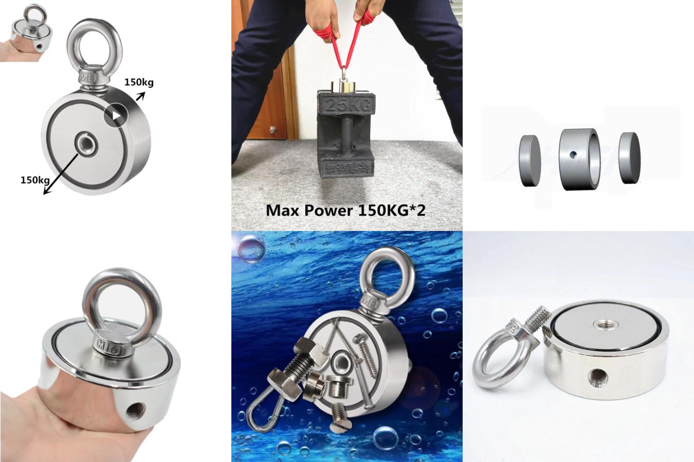 Неодимовый магнит в корпусе с двумя отверстиями для болта-кольца