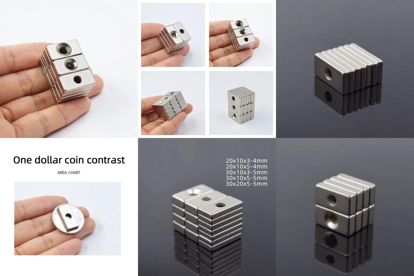 Неодимовые прямоугольные магниты с отверстиями