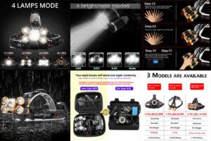 Налобный фонарь 5LED T6 – мощная подача дальнего света