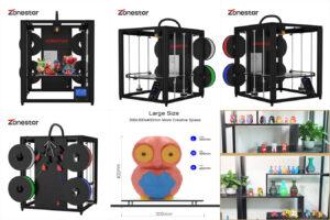 ZONESTAR 2021 новейший 4 экструдер многоцветный FDM 3D принтер 4,3